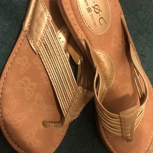 Gold braided sandals size 10 EUC worn once